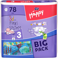 Scutece Happy nr. 3 BIG Pack Midi, 78 buc