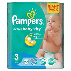 Scutece Pampers 3 copii 4-9 kg Giant Pack 90 buc