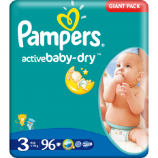 Scutece Pampers 3 copii 4-9 kg Giant Pack 96 buc